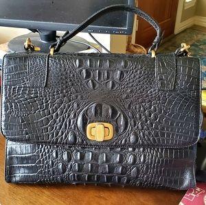 Brahmin black turn lock satchel w/ crossbody strap